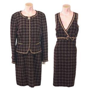 NWT ECI Two-Piece Tweed Wool Blend Dress Set